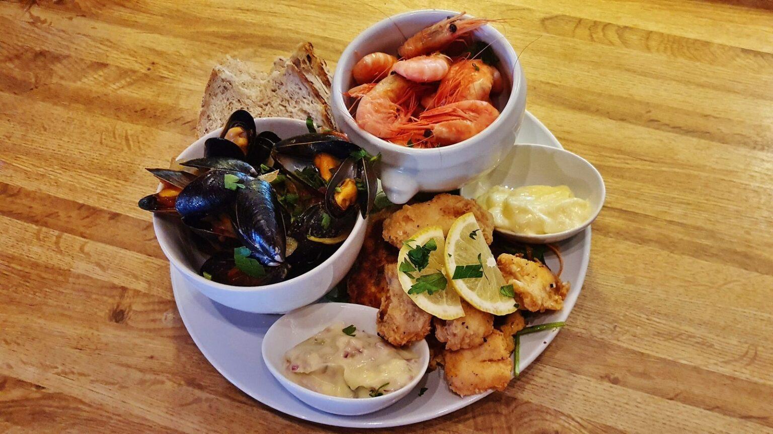 sea food shrimp mussels cod tongues
